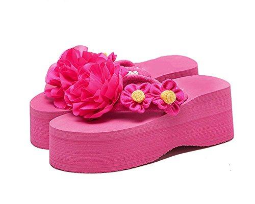US6 Flowers 5 UK4 non shoes beach folder CN37 flip toe 7 shoes flops casual women's slip 5 casual wild feet 5 EU37 xAxFqp