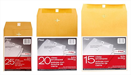 ACCO Mead OFFICEPAK Clasp Heavy-Weight Brown Kraft Envelopes Bundle - 6x9-inch (25 ct), 9x12-inch (20 ct), and 10x13-inch (15 ct) (Packaging May (Mead Heavyweight Brown Kraft Clasp)