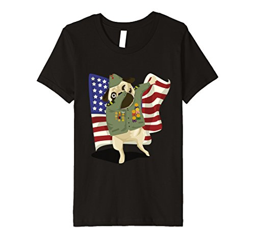 Six Character Flags Costumes (Kids Dabbing Veteran Pug Veterans Day USA Flag Dog Lover Tshirt 6)