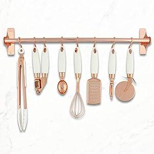White and Copper Kitchen Tool Set: Copper Tongs, Copper Whisk, Copper Grater, Copper Pizza Wheel, Copper Peeler, Copper Ice Cream Scoop, Copper Garlic Press