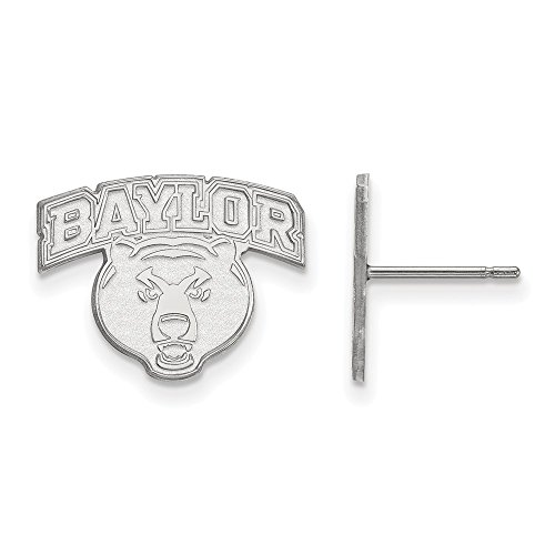 14k White Gold LogoArt Official Licensed Collegiate Baylor University (BU) Small Post Earrings by LogoArt