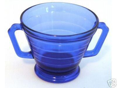 Hazel Atlas Moderntone Cobalt Blue Footed Sugar Bowl Depression ()