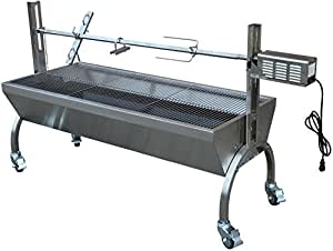 Rotisserie Grill Roaster Stainless Steel 13W 88LBS capacity BBQ charcoal pig + FREE E-Book