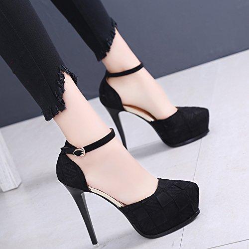 KPHY-Noche De Compras Sexy Vaciado Zapato Primavera Y Otoño Sharp Superficial Super Talon Impermeable Zapatos De Tacon Alto black