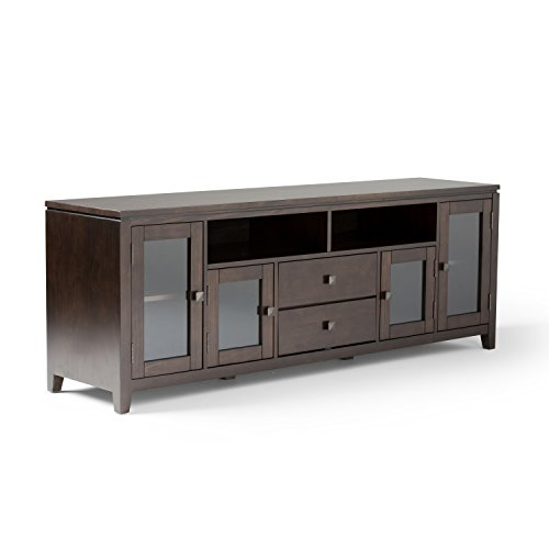 Simpli Home 3AXCCOS72 Cosmopolitan Solid Wood 72 inch Wide Contemporary TV Media Stand in Coffee Brown  For TVs up to 80 inches
