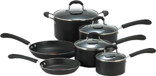 T-fal E938SA Professional Total Nonstick Thermo-Spot Heat Indicator Cookware Set, 10-Piece, Black by T-fal