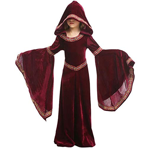 Dawnbright Girls Vampire Costume Medieval Costume Kids Halloween Toddler Hooded Robe Dress up Wine Red
