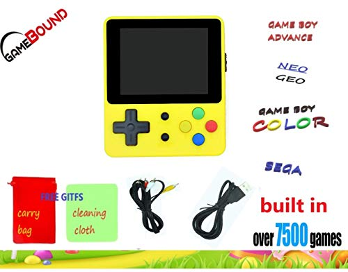 Gamebound LDK Game 4:3 Retro Handheld Game Console – Yellow + FREE GIFTS CARRY BAG