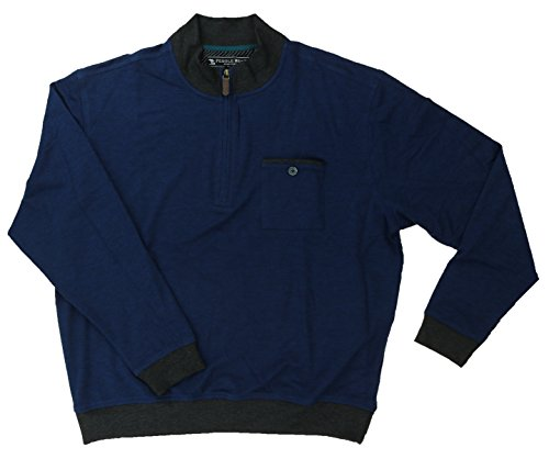(Pebble Beach Men's Performance Golf 1/4 Zip Pullover with Chest Pocket (Large, Navy Heather))