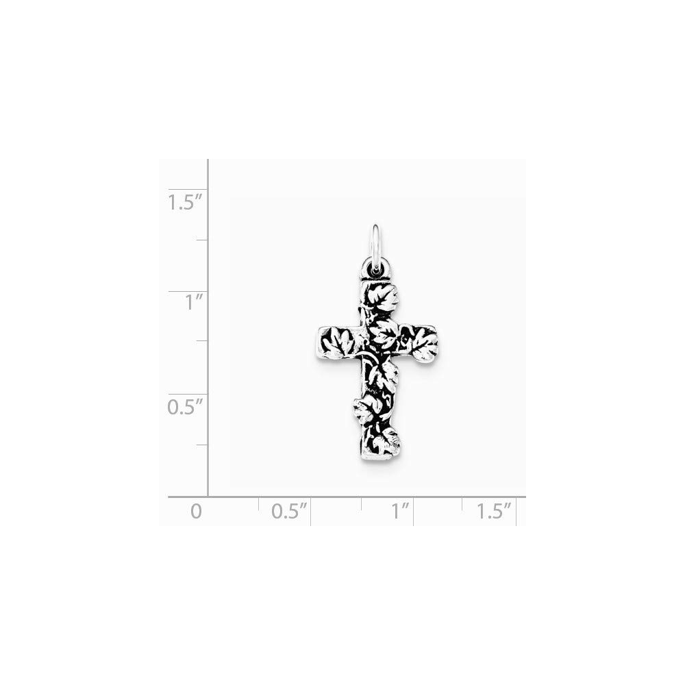 925 Sterling Silver Antiqued and Textured Floral Cross Pendant