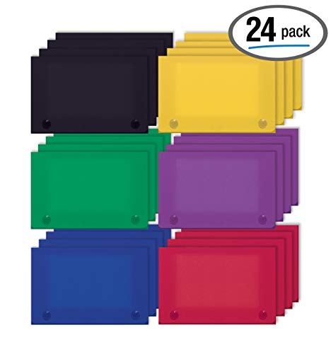 3 x 5 Inch Index Card Case by Better Office Products, 24 Pack, Semi-Rigid Plastic, with Clear Index Dividers, Primary Color - Card Plastic Divider