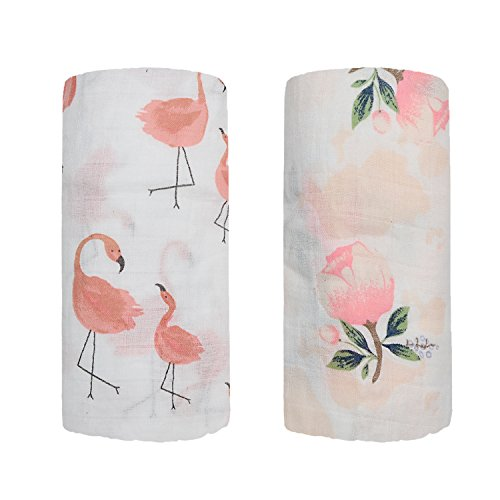Bamboo Muslin Swaddle Square Blankets - 2 Pack 47x47 Floral & Flamingo Print Baby Receiving Blanket Wrap for Girl Shower Gift by Qav Juh (Flamingo & Floral)