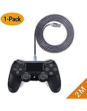EXINOZ Câble Chargeur Tressé de pour Manette PS4 DualShock et Xbox One | Câble Chargeur de Manette de Longueur Idéale pour Xbox et PS4 | Câble Gris avec Garantie 1 an