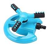 Aspersor de Riego Rociador de Césped Automático Rotación 360 ° Rociador de Riego de Manguera para Jardín 3 Brazos y 12 Boquillas Difusoras (Azul)