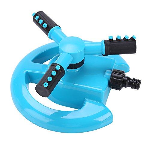 Rociador de césped, 3 Brazos automático 360 Rociadores giratorios Jardín Rociador de Agua Sistema de riego Ajustable(Azul)