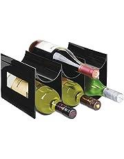 mDesign - Flessenrek - wijnrek - waterflessen/wijnflessen - met 2 etages en 6 houders - voor aanrechten, voorraadkasten en koelkasten - zwart