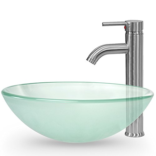 Miligoré Modern Glass Vessel Sink - Above Counter Bathroom Vanity Basin Bowl with Brushed Nickel Faucet and Pop-Up Drain - Round (Raised Vessel Faucet)