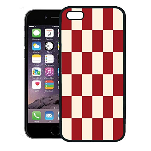 Semtomn Phone Case for iPhone 8 Plus case,Yellow Pattern Red Cream Chess Board Beige Checkered Burgundy Chessboard iPhone 7 Plus case ()