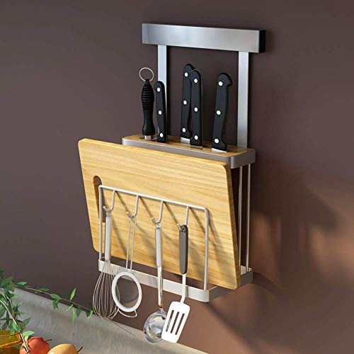 Knife Rack, Stainless Steel Wall Hanging Knife Rack Cutting Board Storage Holder with 4 Hooks for Kitchen Utensils Organizer ()