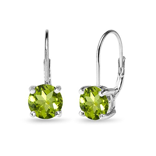 (Sterling Silver Polished Peridot 7mm Round Dainty Leverback Earrings)