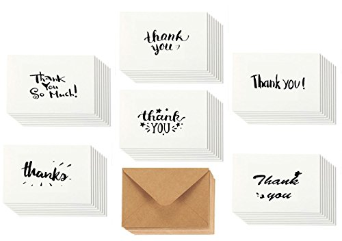 Thank You Cards Blank Note Cards Greeting Cards - 48 Bulk Pack, 6 Assorted Handwritten Letter Thank You, Blank On the Inside, Great for Any (Great Wedding Shower)