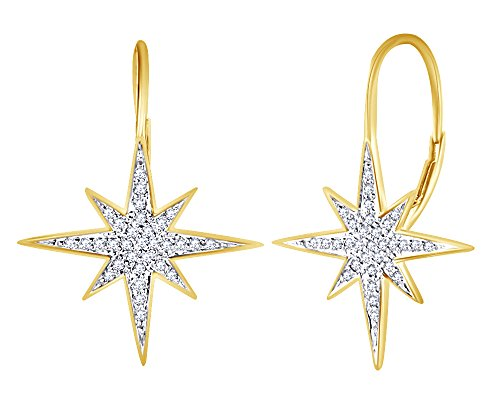 wishrocks Round Cut White Cubic Zirconia Starburst Hoop Earrings In 14K Yellow Gold Over Sterling Silver (Starburst 14k Gold Yellow)