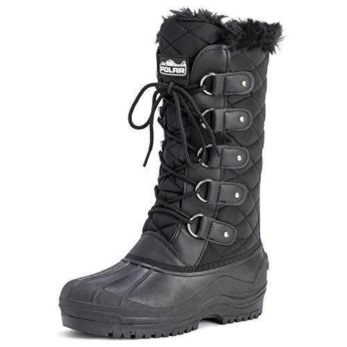 POLAR Womens Waterproof Tactical Mountain Walking Snow Knee Boots - Black - US10/EU41 - YC0356 (The Best Waterproof Boots For Walking)