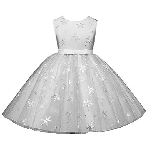 (Tsyllyp Girls Princess Party Tutu Dress Elsa Costume Snowflake Christmas Gown White)