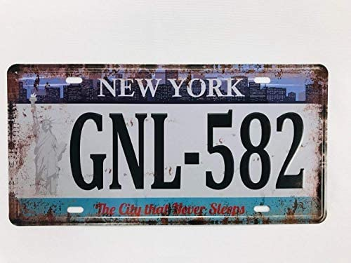 qidushop Grande Plaque dimmatriculation en m/étal Souvenir New York City That Never Sleeps Voiture v/éhicule 15,2 x 30,5 cm Plaque Vintage pour Maison Bar