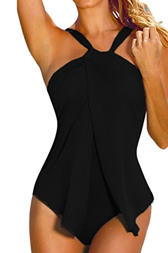 Sovoyant Women's Halter Neck Wrap Ruched One Piece Swimwear Monokini Black L