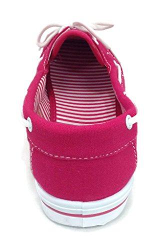 Round R Flat On Tennis Sneaker Comfy Toe up Fucshia Boat Perla Canvas Slip 82 L Shoe RL Lace wUqrg07Un