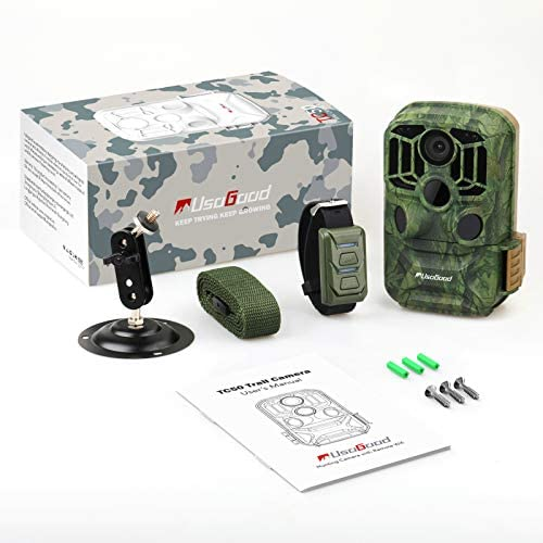 """usogood Trail Camera WiFi 24MP 1296P Game Cameras with No Glow Infrared Night Vision Motion Activated Hunting Cam, 2.0"""" LCD IP66 Waterproof for Outdoor Wildlife Monitoring"""