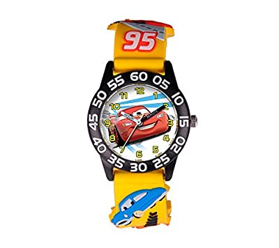 Disney Boys' Cars 3D Plastic Yellow Time Teacher Watch from Disney