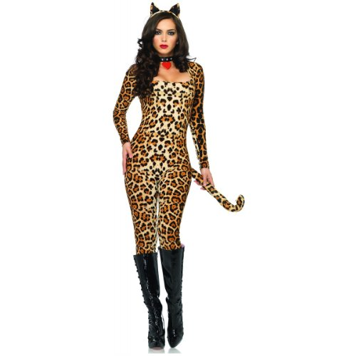 [Leg Avenue Women's 3 Piece Cougar Catsuit Costume, Leopard, Medium/Large] (Adult Halloween Costumes Women)
