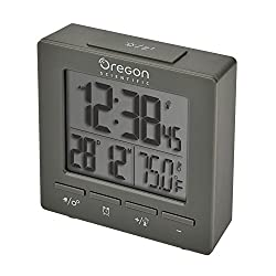 Nature Bird RM511A Alarm Clock Radio-controlled Dual Alarm Clock with Temperature Date Backlight Snooze for Bedroom Office Travel (Grey)