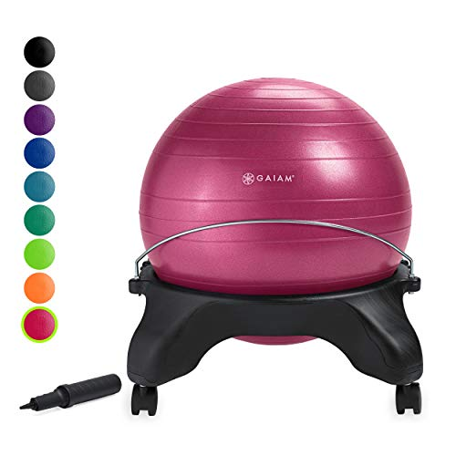 Gaiam Classic Backless Balance Ball Chair - Exercise Stability Yoga Ball Premium Ergonomic Chair for Home and Office Desk with Air Pump, Exercise Guide and Satisfaction Guarantee, Fuchsia