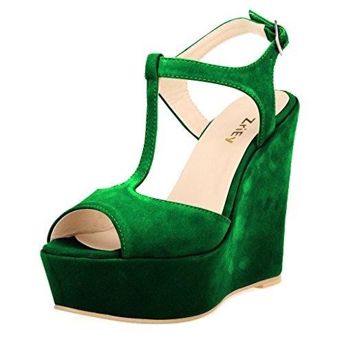 (ZriEy Women Gorgeous Sexy Peep Toe High Heels Platform Wedge Sandals Velvet Green Size 7.5)