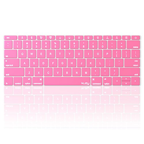 Kuzy ROSE PINK Keyboard Cover for MacBook Pro 13 inch A1708 (No TouchBar) Release 2016 & MacBook 12 A1534 NEWEST Silicone Skin - Rose Baby Pink
