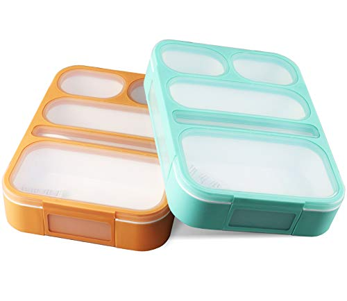 Leakproof Bento Lunch Box Set With 5 Compartments | 2 Food Prep & Meal Planning Containers For Kids And Adults | BPA Free & FDA Approved | Microwave, Dishwasher and Freezer Safe By PlusPoint