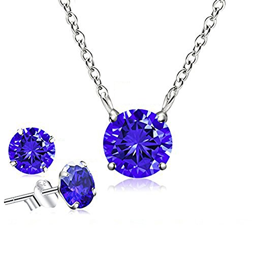 CAT EYE JEWELS September Birthstone Pendant Necklace Cubic Zirconia Sterling Silver Necklace (Sapphire)