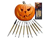 Halloween Pumpkin Carving Tool Kit – Heavy Duty Knife Sets Jack-O-Lantern Halloween Sculpting, Decorating Carve for Kids & Adults, 11 Double Sided Pieces with 21 Tools