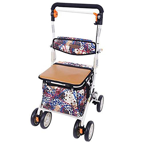 (Alexzh_Rollator Portable Folding Walker Reflective Belt Advanced Shopping Cart Rehabilitation Training, Steel Pipe, Suitable for People Around 150-175cm Height)