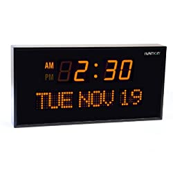Ivation Big Oversized Digital Blue LED Calendar Clock with Day and Date - Shelf or Wall Mount (12 inches - Orange LED)