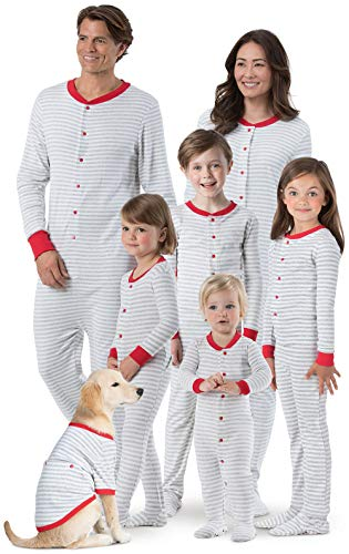 PajamaGram Family Onesie Pajamas Matching - Dropseat PJs, Gray, Baby, 0-3M ()