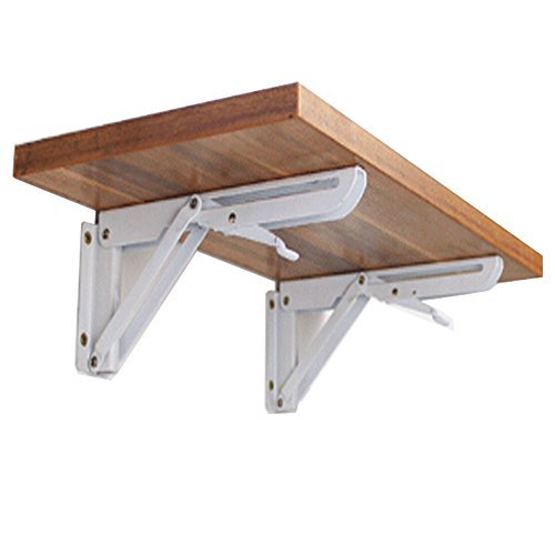 Hyacinthus 12 Inch Folding Support Shelf Bracket Steel Bench Table Loaded Supports Wall mount Support for Undermount Sinks Microwave Beds and Other Furniture (not include wood) 2 PCS Pack (K) by Hyacinthus
