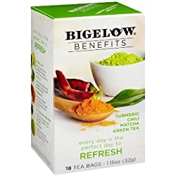 Bigelow Benefits Tumeric Chili Matcha Green Tea - 3 Boxes of 18 Tea Bags Each - 54 Teabags Total