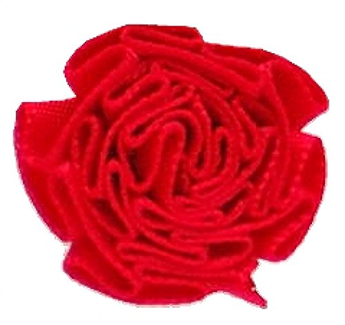 Berisford Ribbon Ruched Rosettes 250 Red - per pack of 6