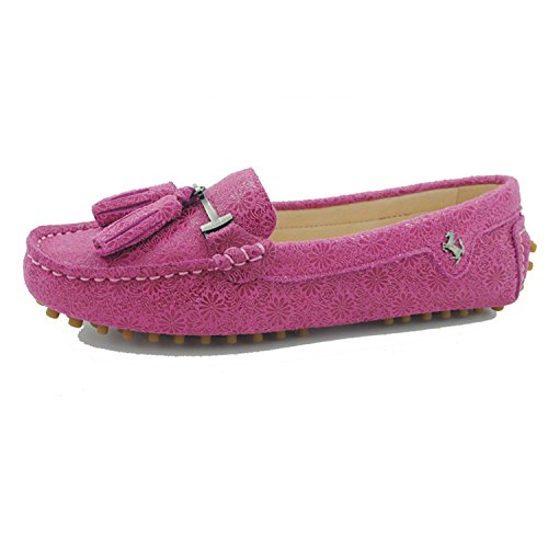 Minishion Dames Casual Kwastje Suèdeleer Stuiver Penny Loafers Mocassins Slip-on Casual Flats Bloemenroze