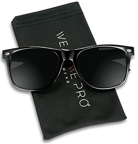 WearMe Pro - Premium Black Classic Horn Rimmed Square 80's Retro Sunglasses For Men Women -