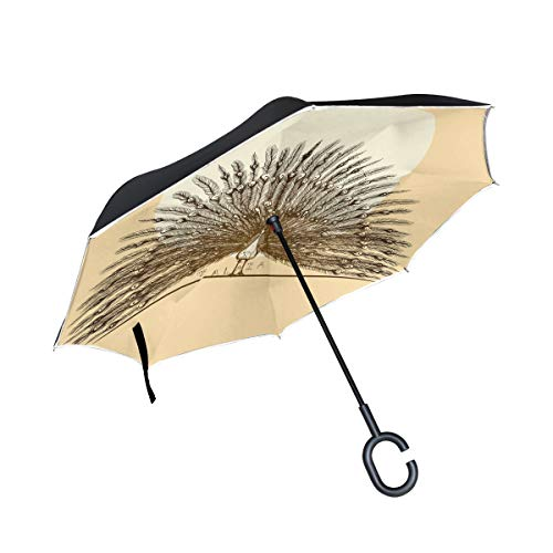 Peacock Spreads Its Feathers Double Layer Inverted Car Umbrellas Reverse Folding Umbrella Windproof UV Protection with C-Shaped -